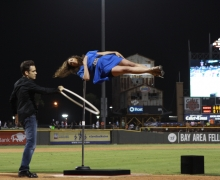 Michael Levitates A Girl At The Center Of A Baseball Stadium