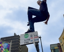 Michael Grandinetti Levitates LIVE Above Hollywood Boulevard - From Below